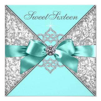 Fiesta de cumpleaños azul del dulce 16 del trullo invitación 13,3 cm x 13,3cm