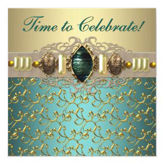 Fiesta de cumpleaños azul del oro del jade del invitación 13,3 cm x 13,3cm