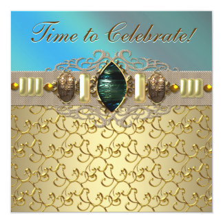 Fiesta de cumpleaños azul del oro del trullo invitación 13,3 cm x 13,3cm