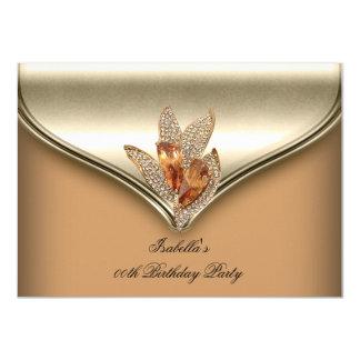 Fiesta de cumpleaños beige del oro del caramelo invitación 11,4 x 15,8 cm