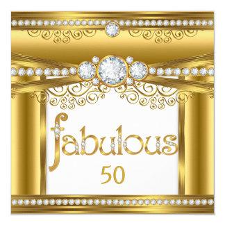Fiesta de cumpleaños blanca del diamante del oro invitación 13,3 cm x 13,3cm