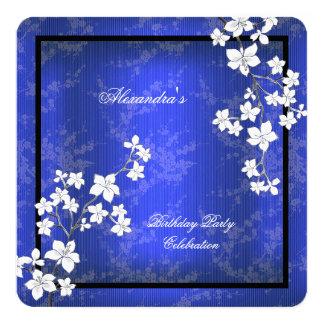 Fiesta de cumpleaños blanca del flor asiático del invitación 13,3 cm x 13,3cm