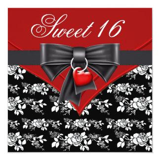 Fiesta de cumpleaños blanca negra roja del dulce invitación 13,3 cm x 13,3cm