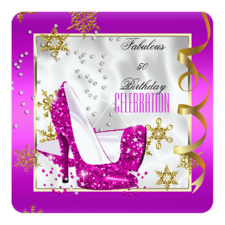 Fiesta de cumpleaños blanca rosada fabulosa de 50 invitación 13,3 cm x 13,3cm