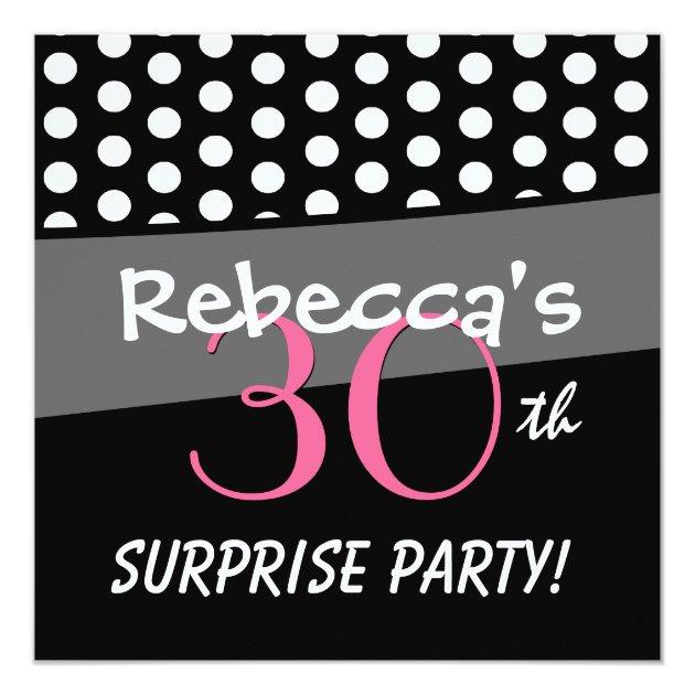 Fiesta de cumpleaños blanco y negro de la sorpresa invitación 13,3