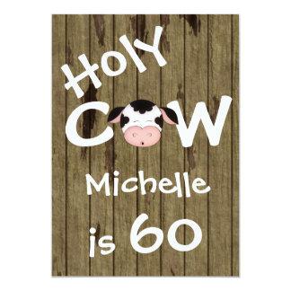 Fiesta de cumpleaños chistosa de la vaca 60.a invitación 12,7 x 17,8 cm