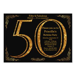 Fiesta de cumpleaños, cincuenta, gran Gatsby, Invitación 12,7 X 17,8 Cm