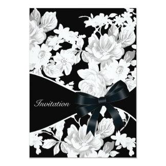 Fiesta de cumpleaños color de rosa blanco y negro invitación 12,7 x 17,8 cm