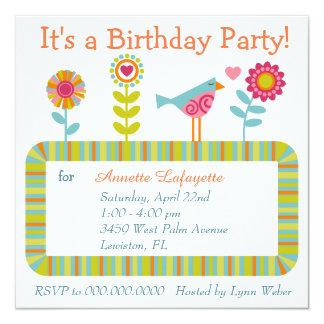 Fiesta de cumpleaños colorida del marco de la flor invitación 13,3 cm x 13,3cm