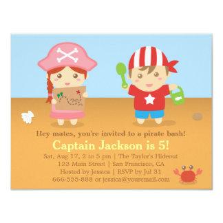 Fiesta de cumpleaños colorida linda de los piratas comunicados personales