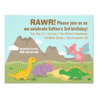 Fiesta de cumpleaños colorida linda del dinosaurio invitación 10,8 x 13,9 cm