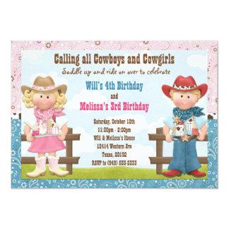 Fiesta de cumpleaños común del hermano del vaquero invitación 12,7 x 17,8 cm