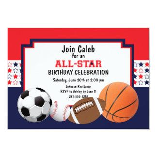 Fiesta de cumpleaños de Allstar - deportes Invitación 12,7 X 17,8 Cm
