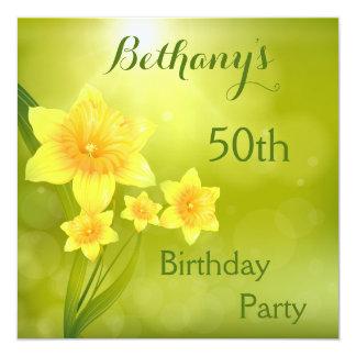 Fiesta de cumpleaños de Bokeh de los narcisos Invitación 13,3 Cm X 13,3cm