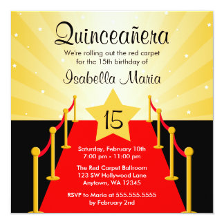 Fiesta de cumpleaños de Hollywood Quinceanera de Invitación 13,3 Cm X 13,3cm