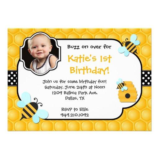 Fiesta de cumpleaños de la abeja invitacion personal