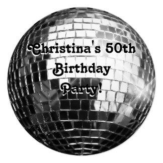 Fiesta de cumpleaños de la bola de discoteca de invitación personalizada