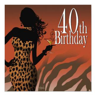 Fiesta de cumpleaños de la cebra del leopardo de invitación 13,3 cm x 13,3cm