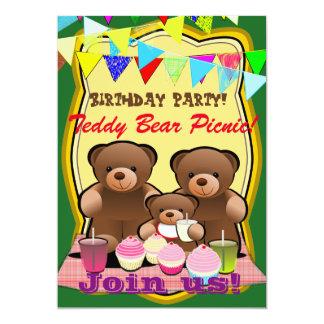 Fiesta de cumpleaños de la comida campestre del invitación 12,7 x 17,8 cm