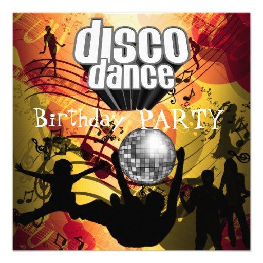 Fiesta de cumpleaños de la danza del disco retra invitacion personal