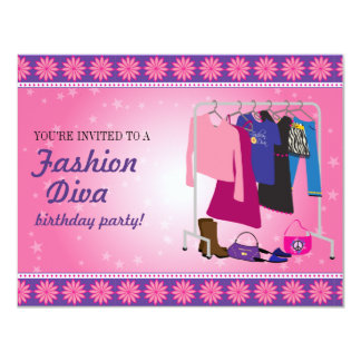 Fiesta de cumpleaños de la diva de la moda invitación 10,8 x 13,9 cm