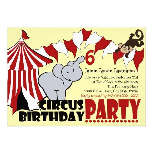 Fiesta de cumpleaños de la diversión del circo invitacion personal