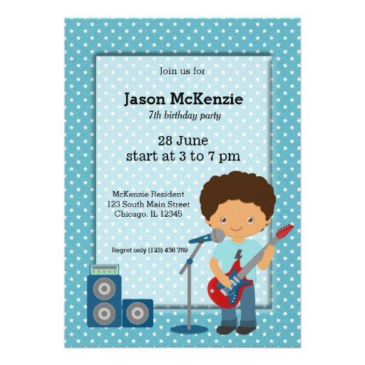 Fiesta de cumpleaños de la estrella del rock invitación personalizada