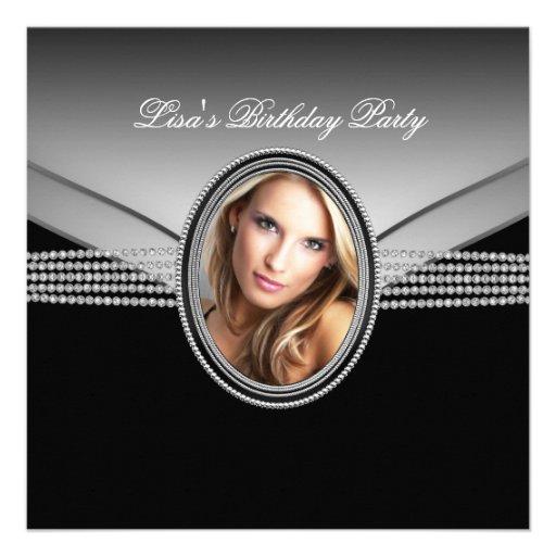 Fiesta de cumpleaños de la foto de la mujer del di invitacion personalizada