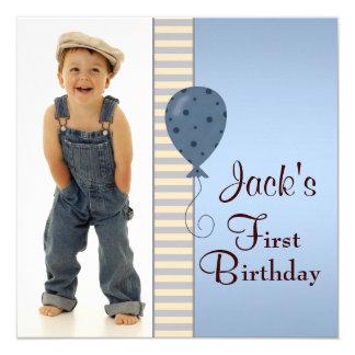 Fiesta de cumpleaños de la foto de los muchachos invitación 13,3 cm x 13,3cm