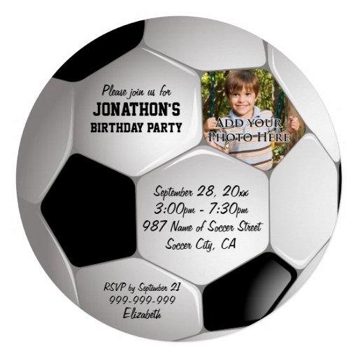 Fiesta de cumpleaños de la foto del balón de fútbo invitaciones personales