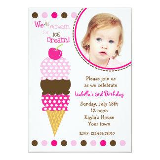 Fiesta de cumpleaños de la foto del helado invitación 12,7 x 17,8 cm