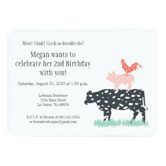 Fiesta de cumpleaños de la granja divertida invitación 12,7 x 17,8 cm