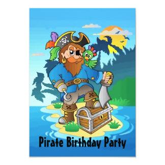 Fiesta de cumpleaños de la isla del pirata invitación 12,7 x 17,8 cm