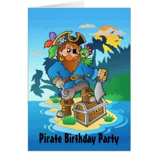 Fiesta de cumpleaños de la isla del pirata tarjeta de felicitación