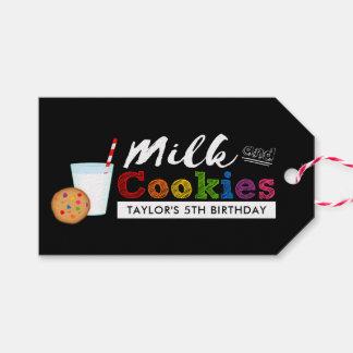 Fiesta de cumpleaños de la leche y del arco iris etiquetas para regalos