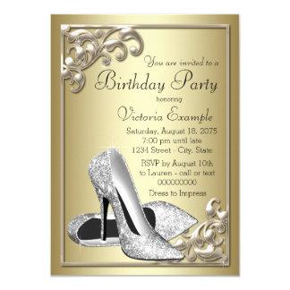 Fiesta de cumpleaños de la marfil y del oro invitación 11,4 x 15,8 cm