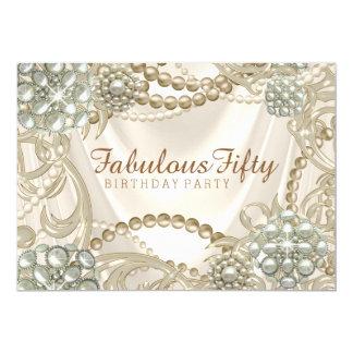 Fiesta de cumpleaños de la perla de la mujer invitación 12,7 x 17,8 cm