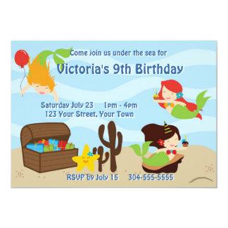 Fiesta de cumpleaños de la piscina de la sirena de invitación 12,7 x 17,8 cm