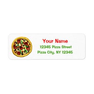 Fiesta de cumpleaños de la pizza de los niños etiqueta de remitente