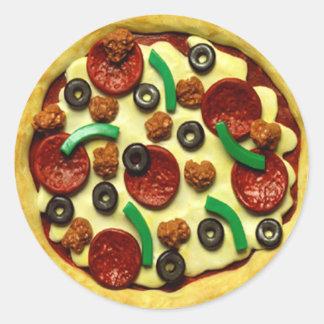 Fiesta de cumpleaños de la pizza de los niños pegatina redonda