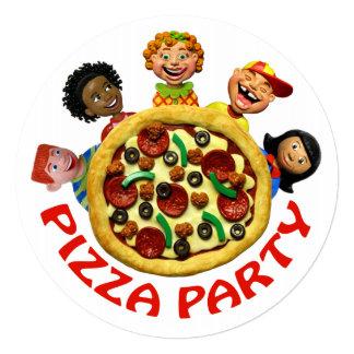 Fiesta de cumpleaños de la pizza invitación 13,3 cm x 13,3cm