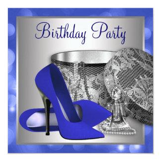 Fiesta de cumpleaños de la plata del azul real invitación 13,3 cm x 13,3cm