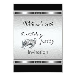 Fiesta de cumpleaños de la plata elegante de la invitación 12,7 x 17,8 cm