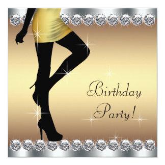 Fiesta de cumpleaños de la plata y del oro de la invitación 13,3 cm x 13,3cm