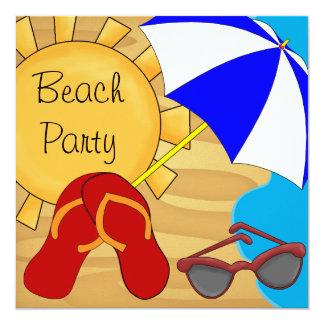 Fiesta de cumpleaños de la playa de las gafas de invitación 13,3 cm x 13,3cm