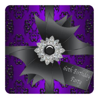 Fiesta de cumpleaños de la púrpura de la mujer del invitación 13,3 cm x 13,3cm