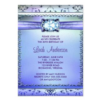 Fiesta de cumpleaños de la púrpura de la mujer invitación 12,7 x 17,8 cm