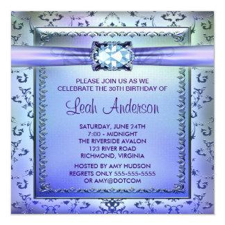 Fiesta de cumpleaños de la púrpura de la mujer invitación 13,3 cm x 13,3cm