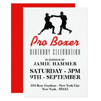 Fiesta de cumpleaños de la silueta del boxeo invitación 12,7 x 17,8 cm