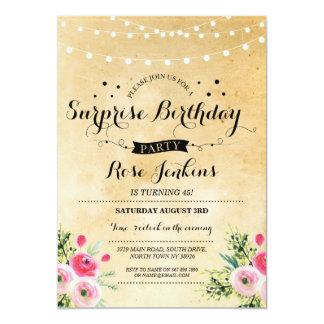 Fiesta de cumpleaños de la sorpresa cualquier invitación 12,7 x 17,8 cm